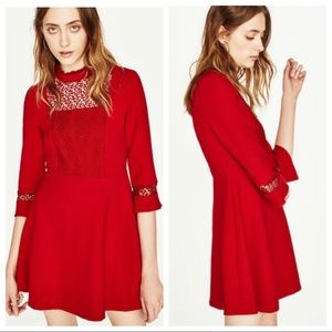 Zara Red A-Line Dress with lace details. Size S.